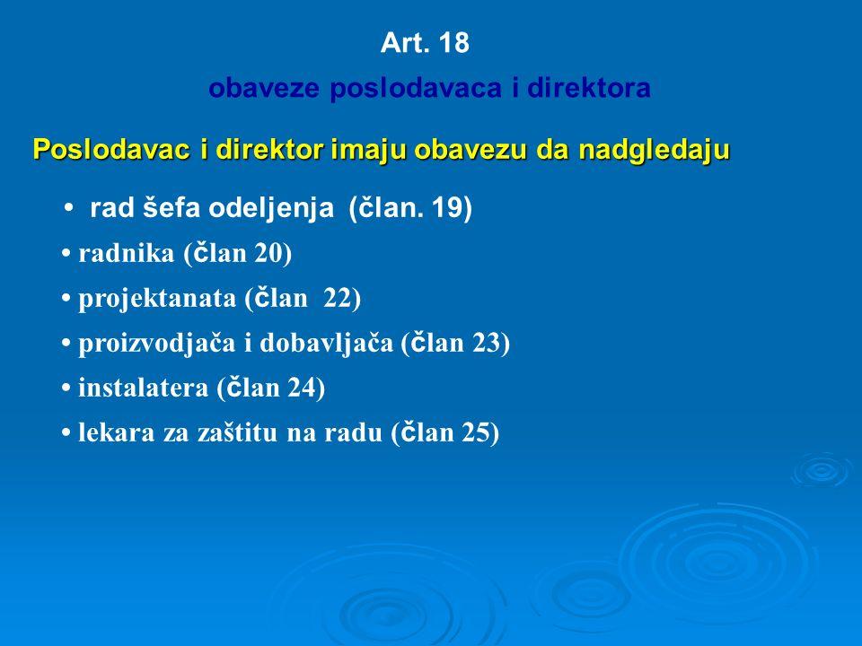 Art. 18 obaveze poslodavaca i direktora Poslodavac i direktor imaju obavezu da nadgledaju rad šefa odeljenja (član. 19) radnika ( č lan 20) projektana