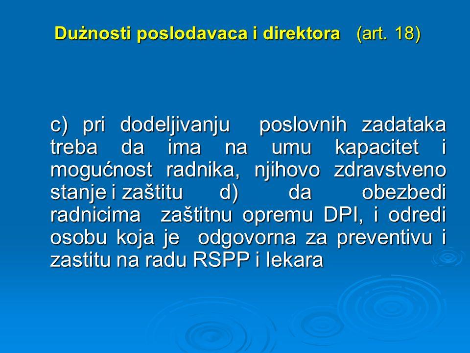 Dużnosti poslodavaca i direktora (art. 18) Dużnosti poslodavaca i direktora (art.
