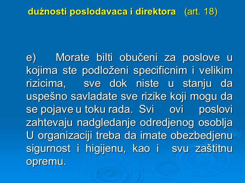 dużnosti poslodavaca i direktora (art.