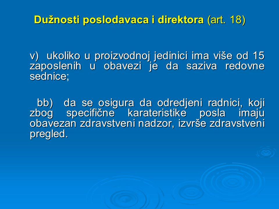 Dužnosti poslodavaca i direktora (art.