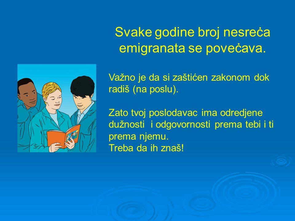 Svake godine broj nesreċa emigranata se poveċava. Važno je da si zaštićen zakonom dok radiš (na poslu). Zato tvoj poslodavac ima odredjene dužnosti i