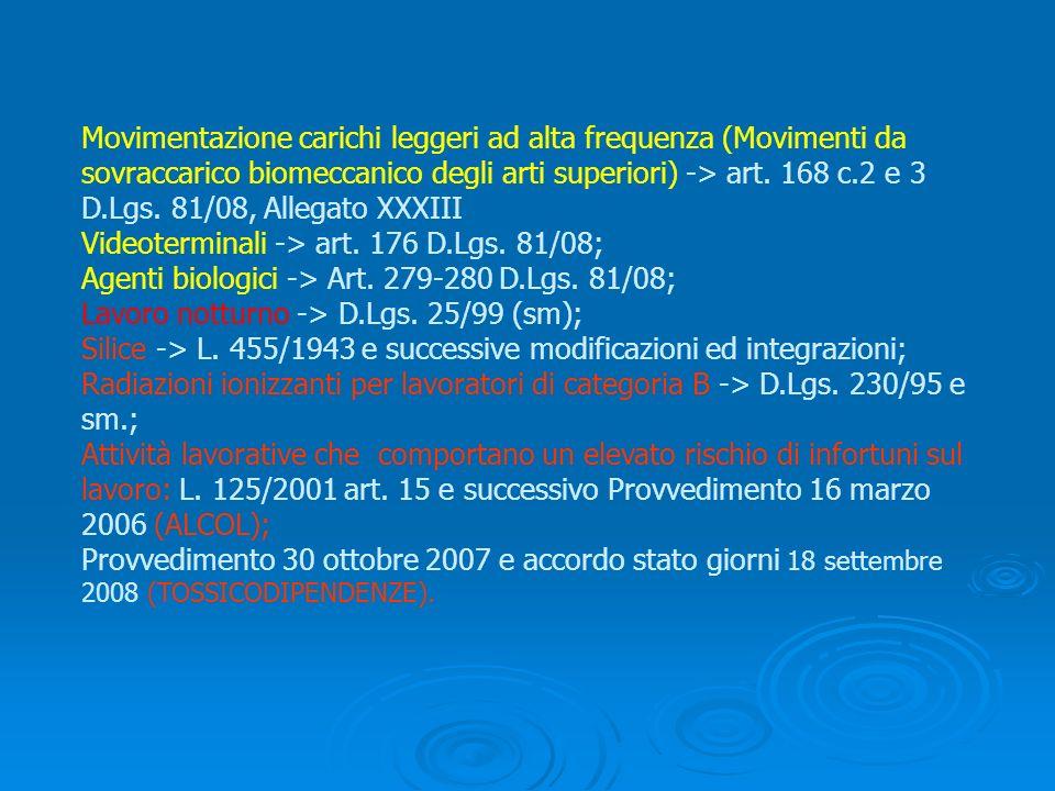 Movimentazione carichi leggeri ad alta frequenza (Movimenti da sovraccarico biomeccanico degli arti superiori) -> art. 168 c.2 e 3 D.Lgs. 81/08, Alleg
