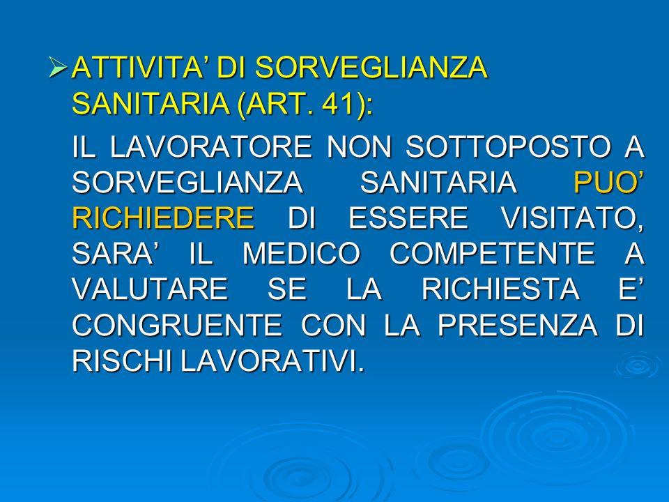 ATTIVITA DI SORVEGLIANZA SANITARIA (ART. 41): ATTIVITA DI SORVEGLIANZA SANITARIA (ART.