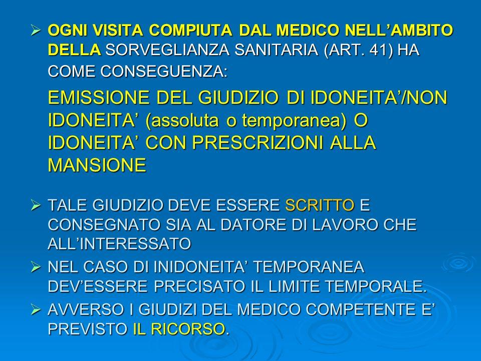 OGNI VISITA COMPIUTA DAL MEDICO NELLAMBITO DELLA SORVEGLIANZA SANITARIA (ART. 41) HA COME CONSEGUENZA: OGNI VISITA COMPIUTA DAL MEDICO NELLAMBITO DELL
