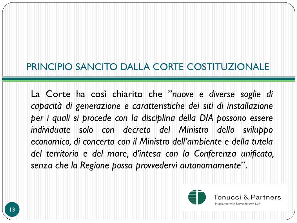 PRINCIPIO SANCITO DALLA CORTE COSTITUZIONALE La Corte ha così chiarito che nuove e diverse soglie di capacità di generazione e caratteristiche dei sit
