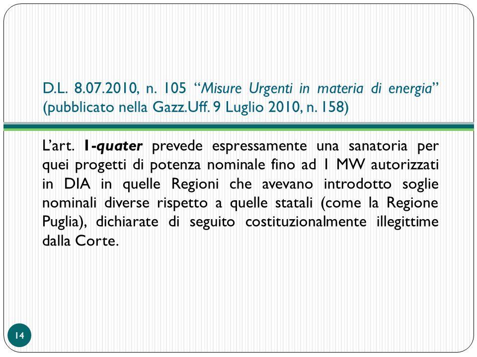 D.L. 8.07.2010, n. 105 Misure Urgenti in materia di energia (pubblicato nella Gazz.Uff. 9 Luglio 2010, n. 158) Lart. 1-quater prevede espressamente un
