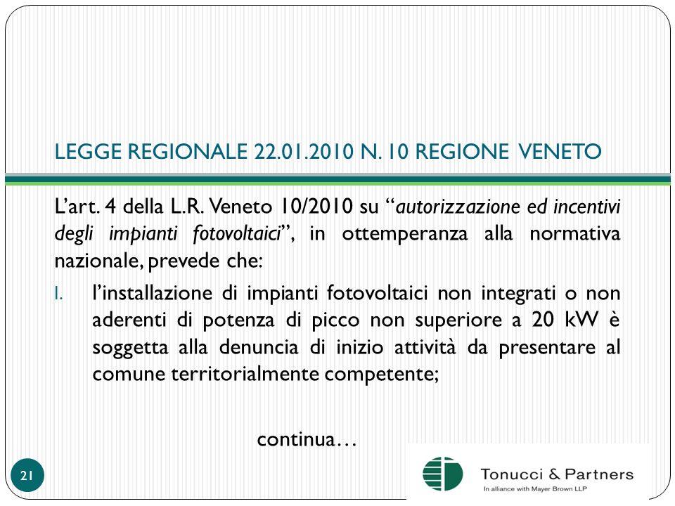 LEGGE REGIONALE 22.01.2010 N. 10 REGIONE VENETO Lart. 4 della L.R. Veneto 10/2010 su autorizzazione ed incentivi degli impianti fotovoltaici, in ottem