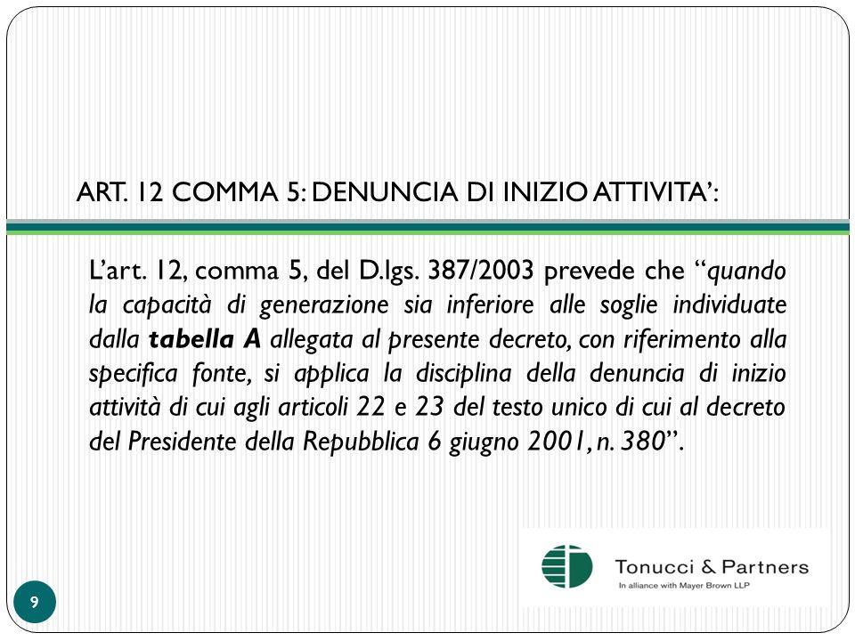 ART. 12 COMMA 5: DENUNCIA DI INIZIO ATTIVITA: Lart. 12, comma 5, del D.lgs. 387/2003 prevede che quando la capacità di generazione sia inferiore alle