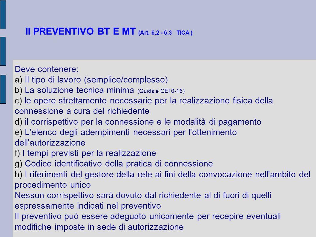Il PREVENTIVO BT E MT (Art. 6.2 - 6.3 TICA ) Deve contenere: a) Il tipo di lavoro (semplice/complesso) b) La soluzione tecnica minima (Guida e CEI 0-1