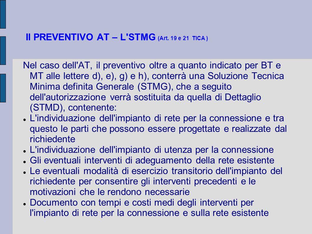 Il PREVENTIVO AT – L'STMG (Art. 19 e 21 TICA ) Nel caso dell'AT, il preventivo oltre a quanto indicato per BT e MT alle lettere d), e), g) e h), conte