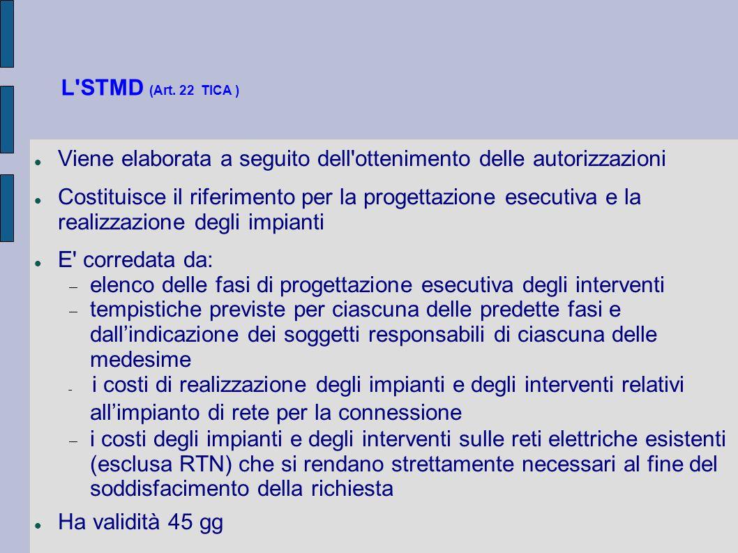 L'STMD (Art. 22 TICA ) Viene elaborata a seguito dell'ottenimento delle autorizzazioni Costituisce il riferimento per la progettazione esecutiva e la