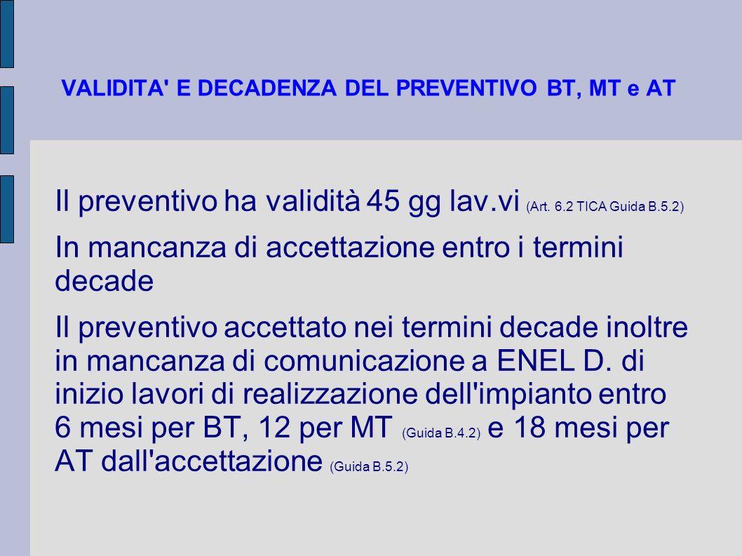 VALIDITA' E DECADENZA DEL PREVENTIVO BT, MT e AT Il preventivo ha validità 45 gg lav.vi (Art. 6.2 TICA Guida B.5.2) In mancanza di accettazione entro