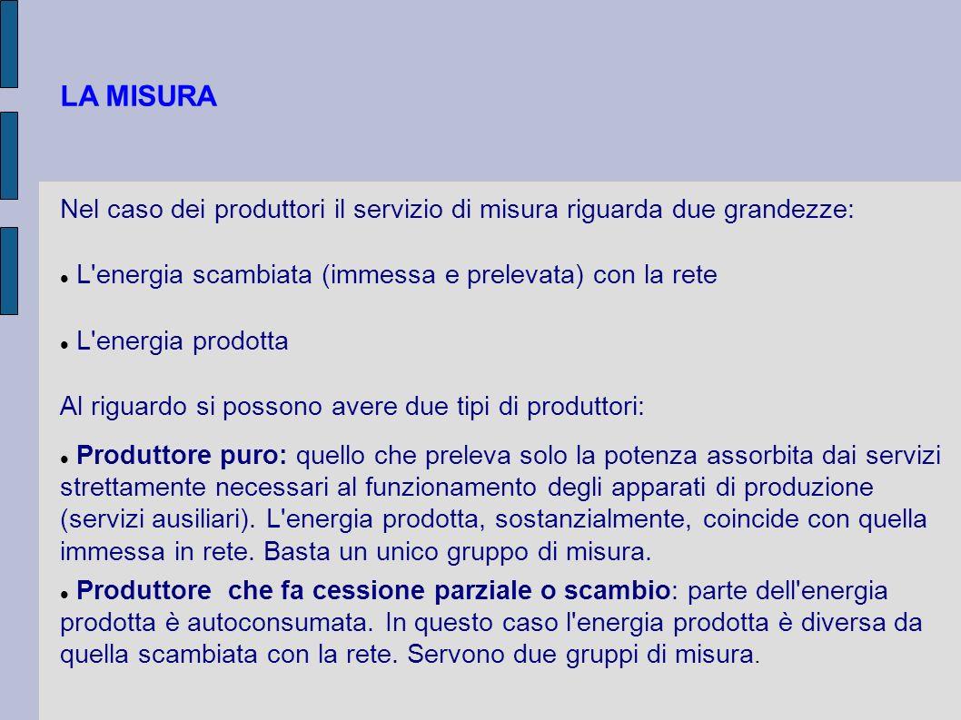 LA MISURA Nel caso dei produttori il servizio di misura riguarda due grandezze: L'energia scambiata (immessa e prelevata) con la rete L'energia prodot