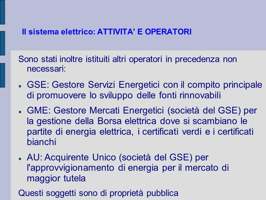 Il sistema elettrico: ATTIVITA E OPERATORI Con la trasformazione da ENEL Ente Nazionale energia ELettrica a ENEL S.p.A.