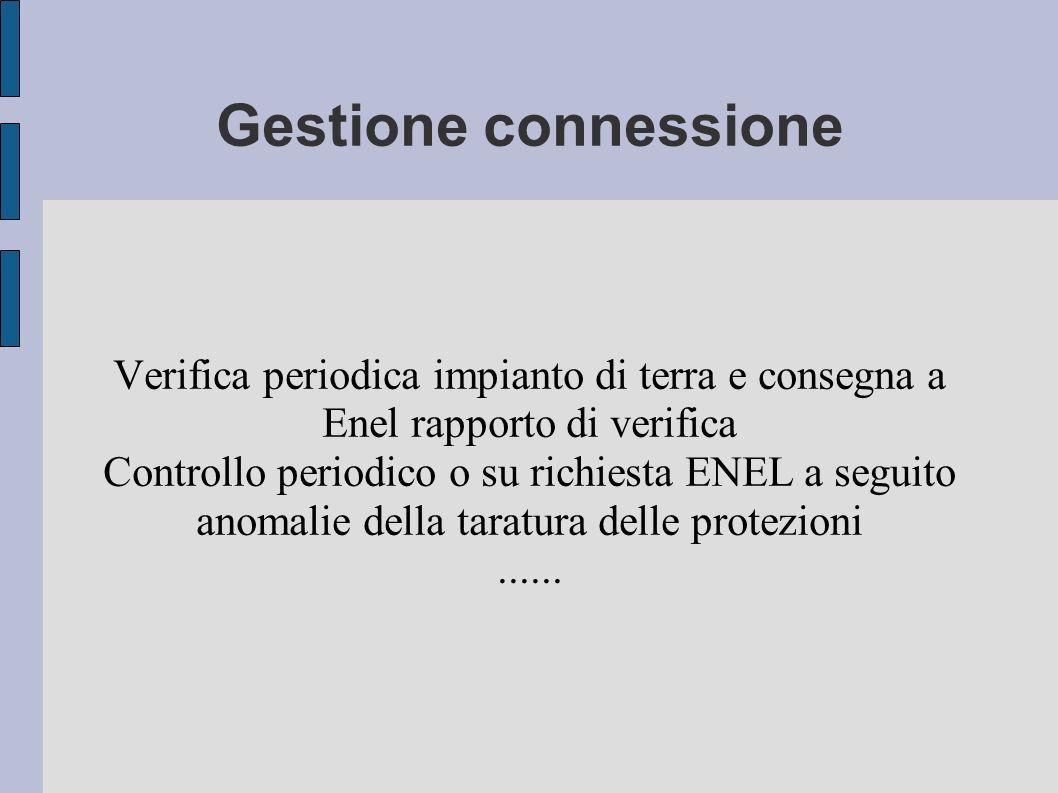 Gestione connessione Verifica periodica impianto di terra e consegna a Enel rapporto di verifica Controllo periodico o su richiesta ENEL a seguito ano