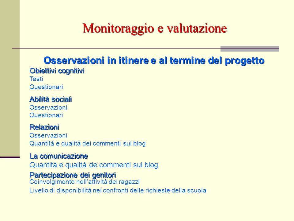 Monitoraggio e valutazione Osservazioni in itinere e al termine del progetto Obiettivi cognitivi Testi Questionari Abilità sociali Osservazioni Questi