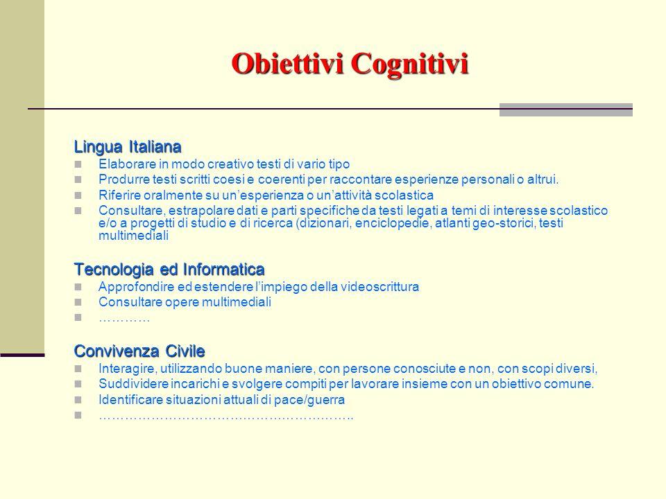 Obiettivi Cognitivi Lingua Italiana Elaborare in modo creativo testi di vario tipo Produrre testi scritti coesi e coerenti per raccontare esperienze p