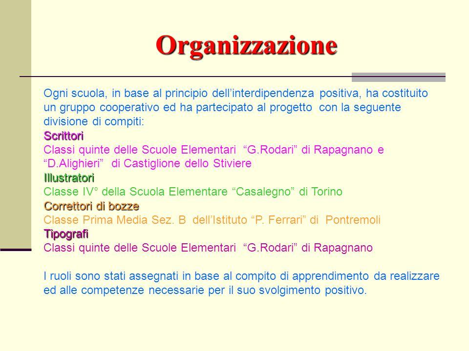 Organizzazione Ogni scuola, in base al principio dellinterdipendenza positiva, ha costituito un gruppo cooperativo ed ha partecipato al progetto con l