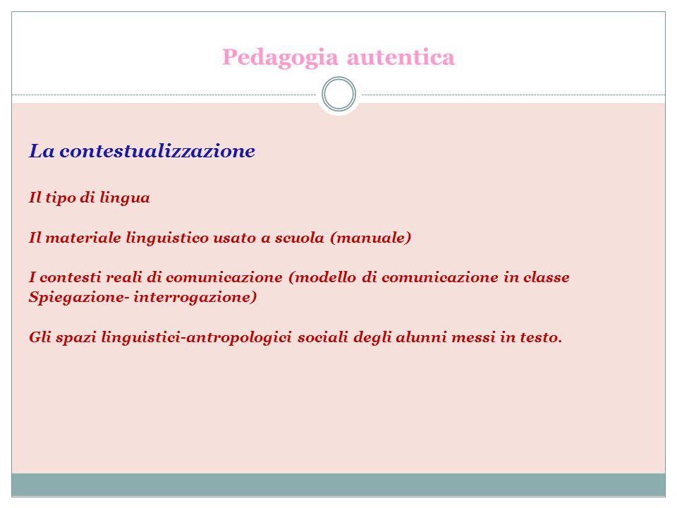 Pedagogia autentica La contestualizzazione Il tipo di lingua Il materiale linguistico usato a scuola (manuale) I contesti reali di comunicazione (mode