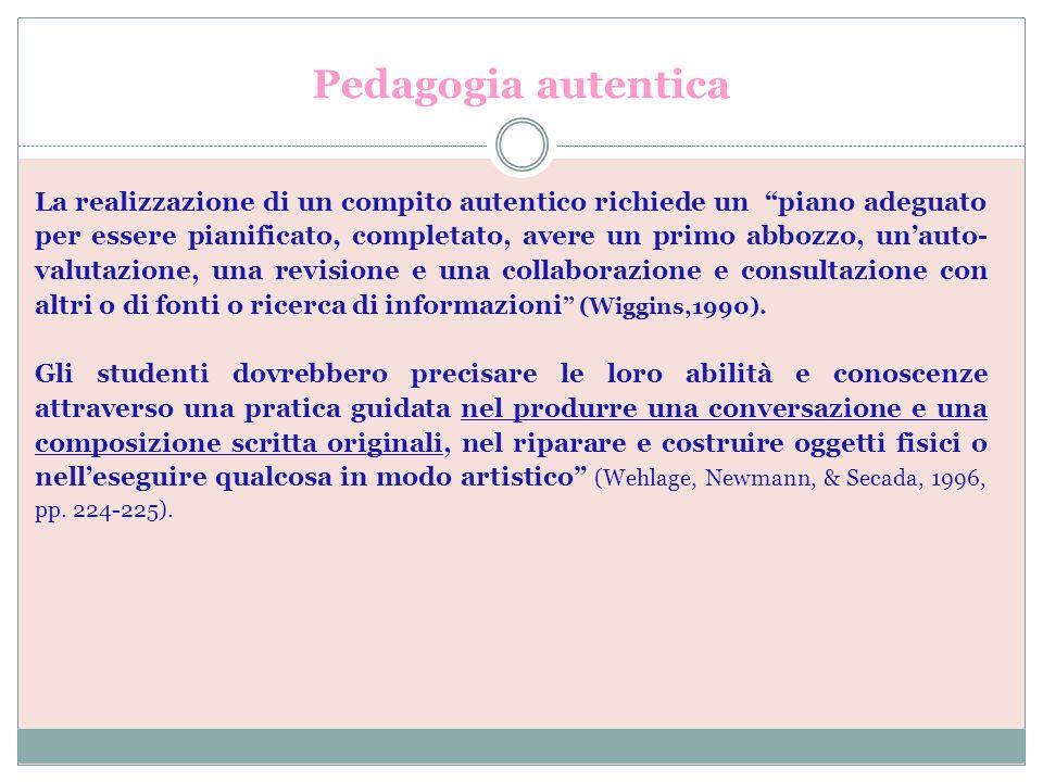 Pedagogia autentica La realizzazione di un compito autentico richiede un piano adeguato per essere pianificato, completato, avere un primo abbozzo, un