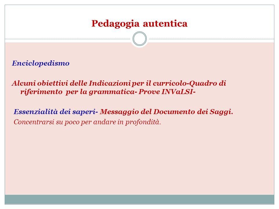Pedagogia autentica Enciclopedismo Alcuni obiettivi delle Indicazioni per il curricolo-Quadro di riferimento per la grammatica- Prove INVaLSI- Essenzi