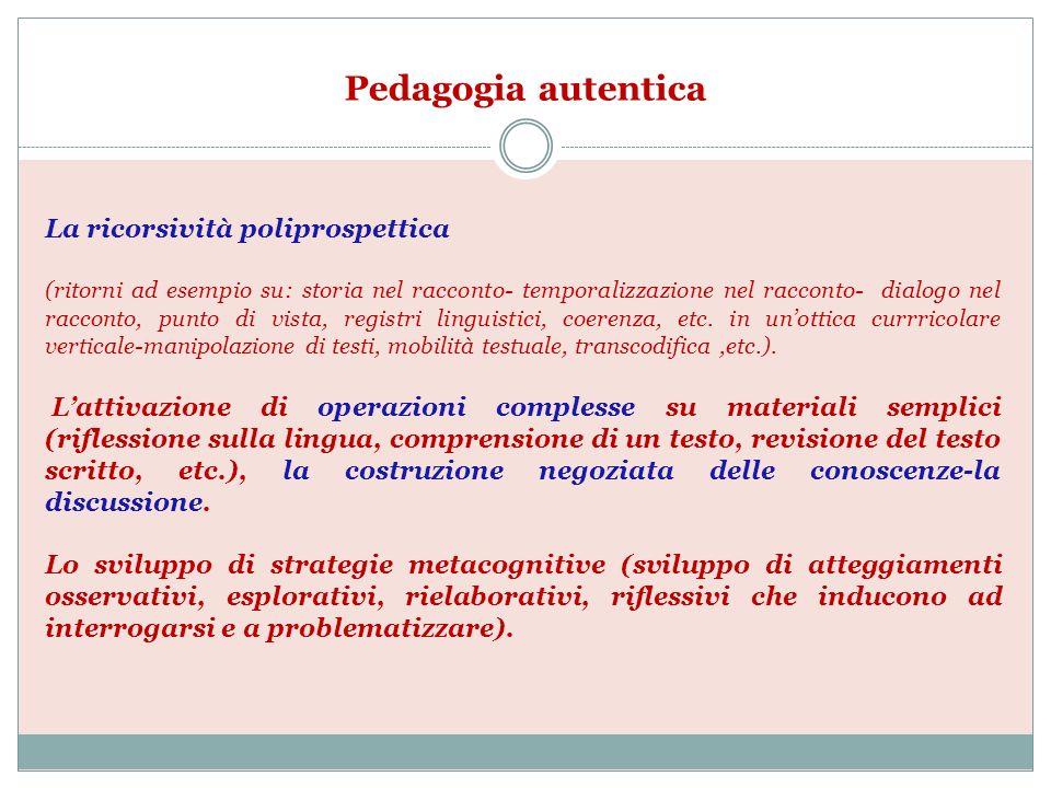 Pedagogia autentica La ricorsività poliprospettica (ritorni ad esempio su: storia nel racconto- temporalizzazione nel racconto- dialogo nel racconto,