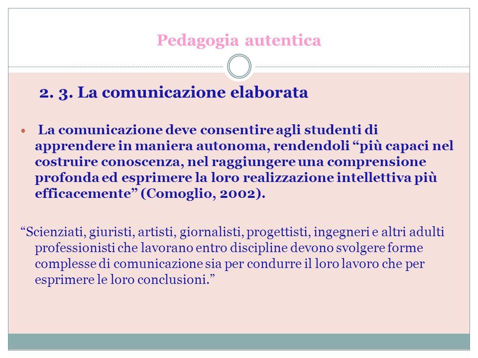 Pedagogia autentica 2. 3. La comunicazione elaborata La comunicazione deve consentire agli studenti di apprendere in maniera autonoma, rendendoli più