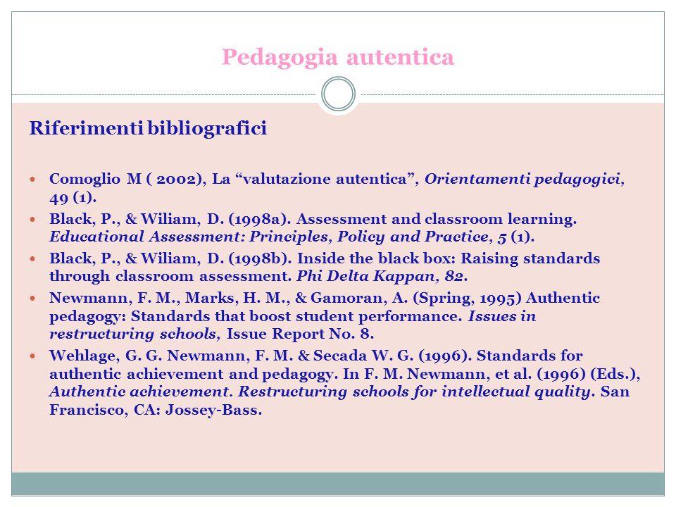 Pedagogia autentica Riferimenti bibliografici Comoglio M ( 2002), La valutazione autentica, Orientamenti pedagogici, 49 (1). Black, P., & Wiliam, D. (