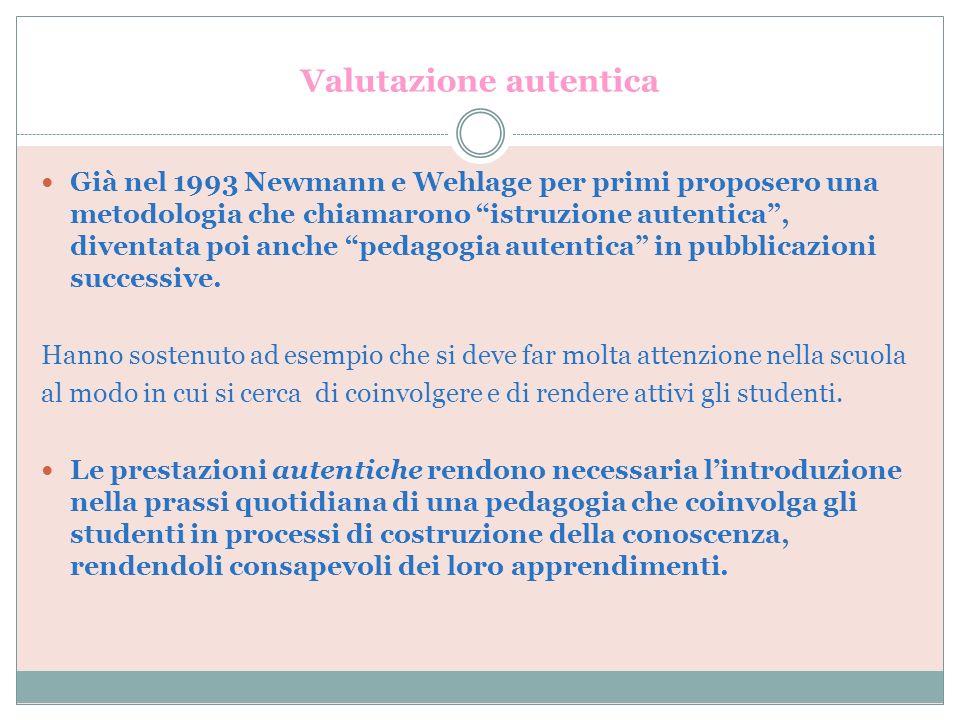 Valutazione autentica Già nel 1993 Newmann e Wehlage per primi proposero una metodologia che chiamarono istruzione autentica, diventata poi anche peda