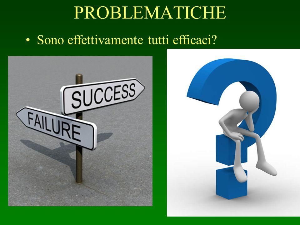 PROBLEMATICHE Sono effettivamente tutti efficaci?