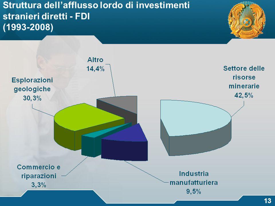 логотип 13 Struttura dellafflusso lordo di investimenti stranieri diretti - FDI (1993-2008)