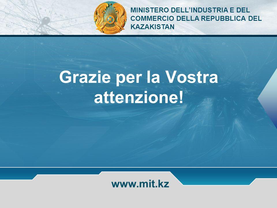 www.mit.kz Grazie per la Vostra attenzione! MINISTERO DELLINDUSTRIA E DEL COMMERCIO DELLA REPUBBLICA DEL KAZAKISTAN