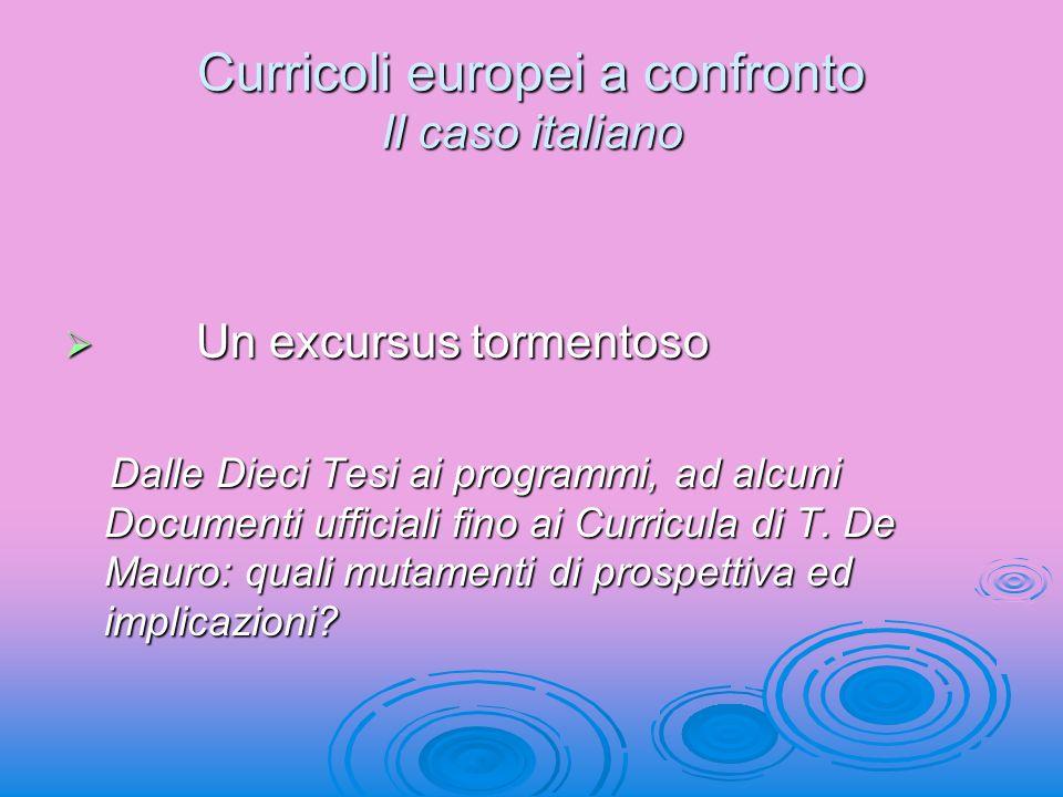 Curricoli europei a confronto Il caso italiano Un excursus tormentoso Un excursus tormentoso Dalle Dieci Tesi ai programmi, ad alcuni Documenti uffici