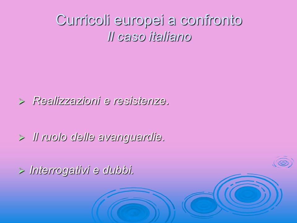 Curricoli europei a confronto Il caso italiano Realizzazioni e resistenze. Realizzazioni e resistenze. Il ruolo delle avanguardie. Il ruolo delle avan