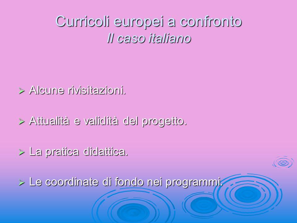Curricoli europei a confronto Il caso italiano Alcune rivisitazioni. Alcune rivisitazioni. Attualità e validità del progetto. Attualità e validità del