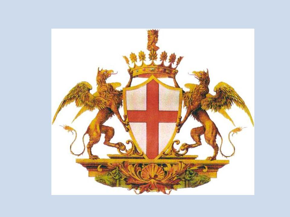 Sullo stemma genovese compaiono Giano bifronte (divinità latina dellinizio, con due facce richiama direttamente alla leggenda della fondazione di Ianua, la città di Genova.