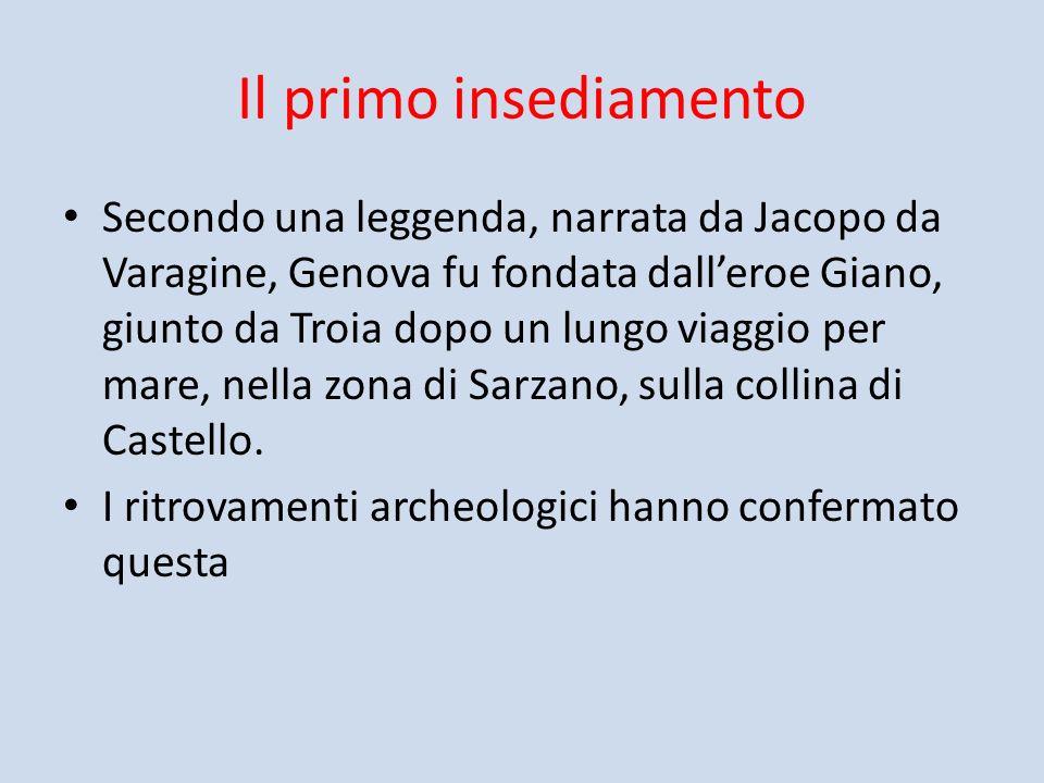 Il primo insediamento Secondo una leggenda, narrata da Jacopo da Varagine, Genova fu fondata dalleroe Giano, giunto da Troia dopo un lungo viaggio per