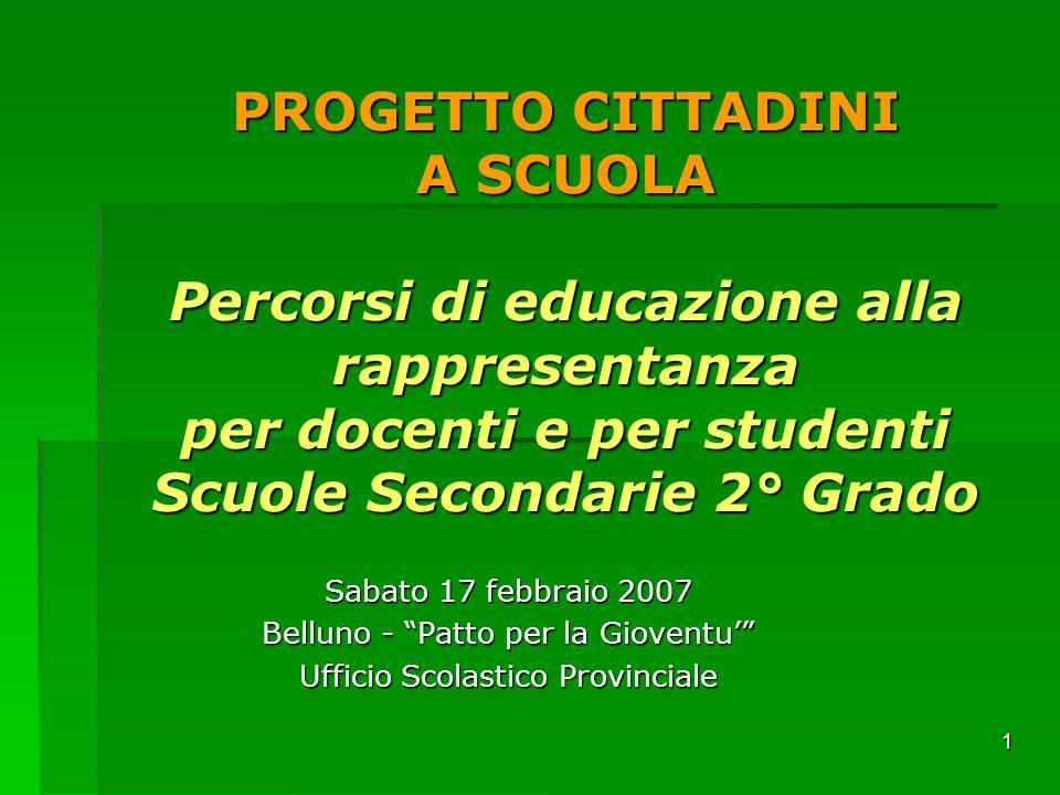 1 PROGETTO CITTADINI A SCUOLA Percorsi di educazione alla rappresentanza per docenti e per studenti Scuole Secondarie 2° Grado Sabato 17 febbraio 2007