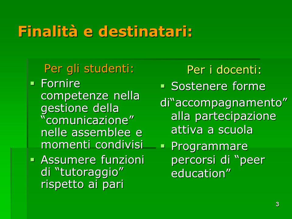 3 Finalità e destinatari: Per gli studenti: Fornire competenze nella gestione della comunicazione nelle assemblee e momenti condivisi Fornire competen