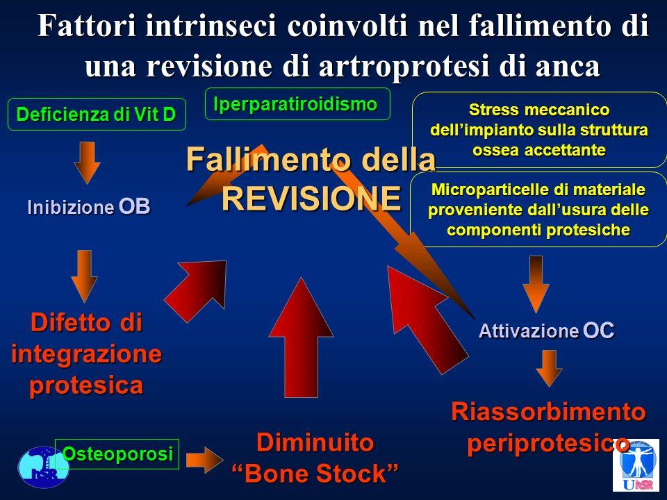 Fattori intrinseci coinvolti nel fallimento di una revisione di artroprotesi di anca Riassorbimentoperiprotesico Microparticelle di materiale provenie