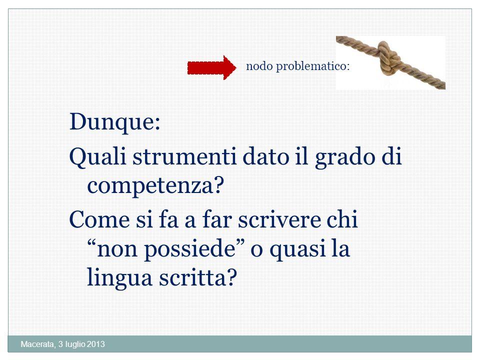 Macerata, 3 luglio 2013 Dunque: Quali strumenti dato il grado di competenza.