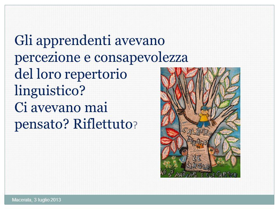 Macerata, 3 luglio 2013 Gli apprendenti avevano percezione e consapevolezza del loro repertorio linguistico.