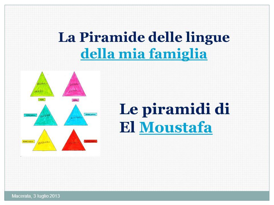 Macerata, 3 luglio 2013 La Piramide delle lingue della mia famiglia della mia famiglia Le piramidi di El MoustafaMoustafa