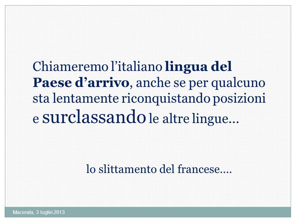 Macerata, 3 luglio 2013 Chiameremo litaliano lingua del Paese darrivo, anche se per qualcuno sta lentamente riconquistando posizioni e surclassando le altre lingue...
