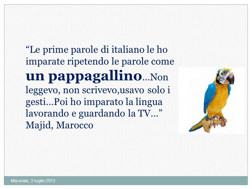 Macerata, 3 luglio 2013 Le prime parole di italiano le ho imparate ripetendo le parole come un pappagallino...Non leggevo, non scrivevo,usavo solo i gesti...Poi ho imparato la lingua lavorando e guardando la TV...