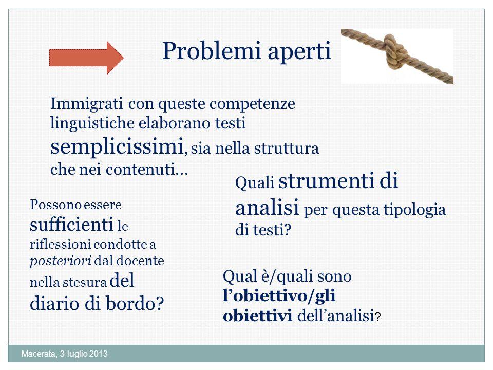 Macerata, 3 luglio 2013 Problemi aperti Quali strumenti di analisi per questa tipologia di testi.