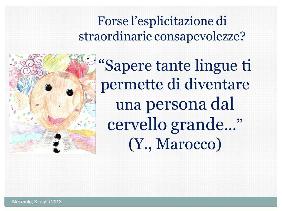 Macerata, 3 luglio 2013 Forse lesplicitazione di straordinarie consapevolezze.