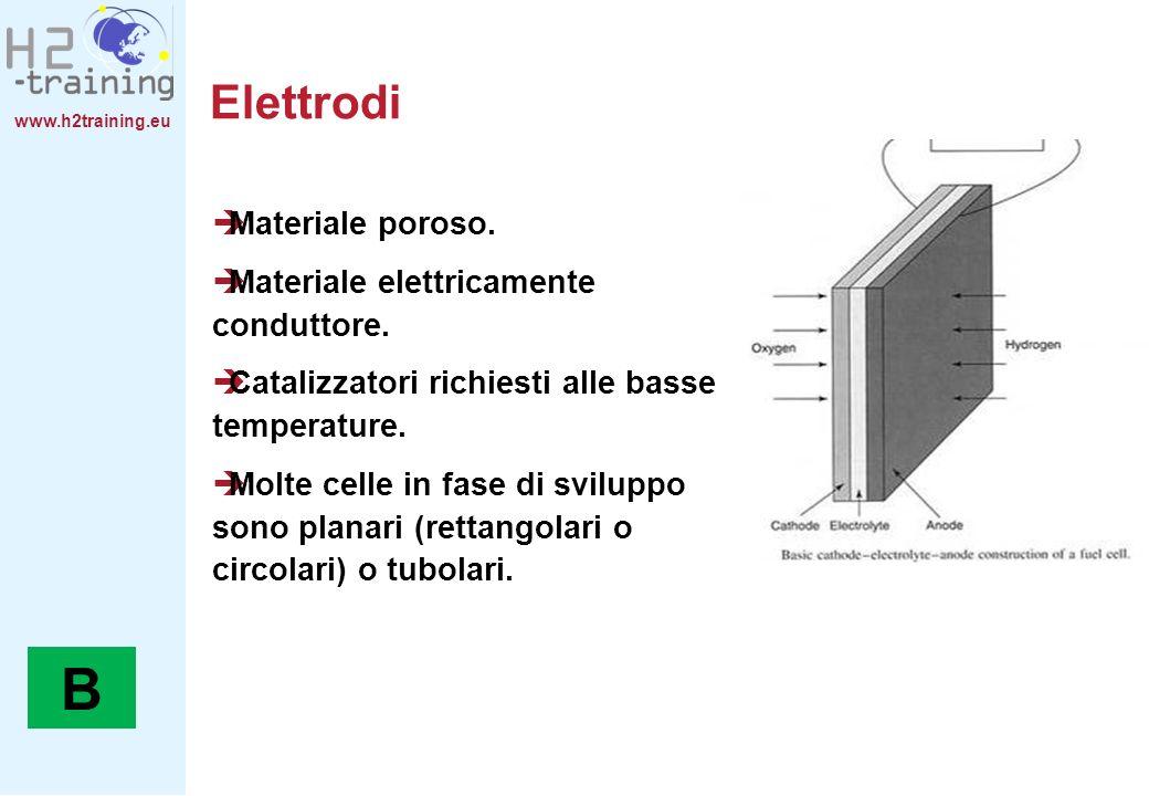www.h2training.eu Elettrodi Materiale poroso. Materiale elettricamente conduttore. Catalizzatori richiesti alle basse temperature. Molte celle in fase