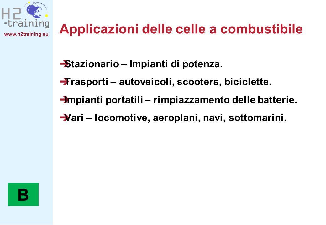 www.h2training.eu Applicazioni delle celle a combustibile Stazionario – Impianti di potenza. Trasporti – autoveicoli, scooters, biciclette. Impianti p