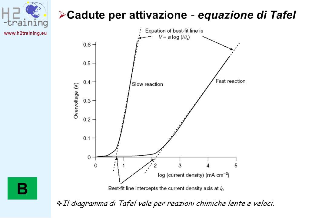 www.h2training.eu Cadute per attivazione - equazione di Tafel Il diagramma di Tafel vale per reazioni chimiche lente e veloci. B